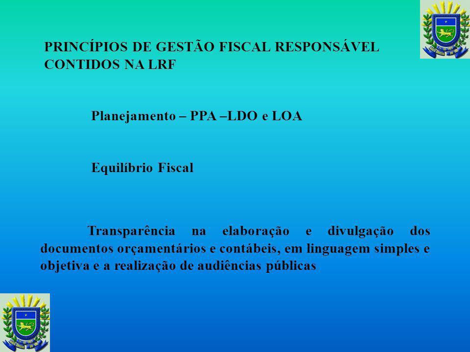 PRINCÍPIOS DE GESTÃO FISCAL RESPONSÁVEL CONTIDOS NA LRF