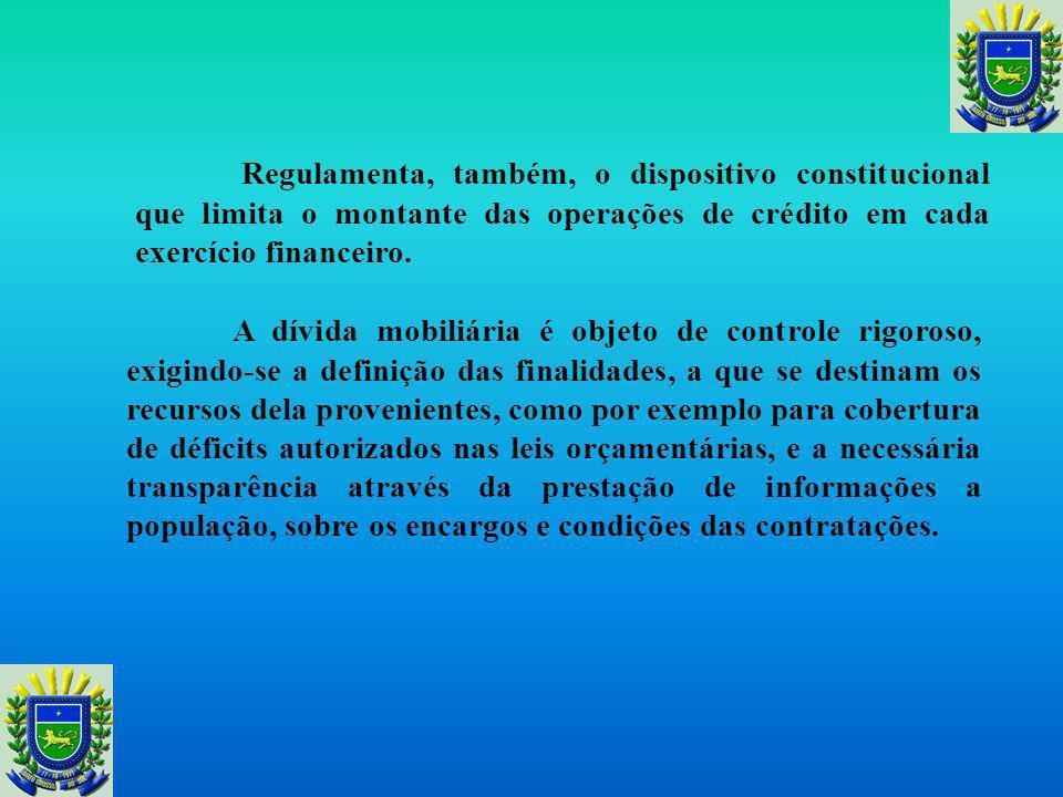 Regulamenta, também, o dispositivo constitucional que limita o montante das operações de crédito em cada exercício financeiro.