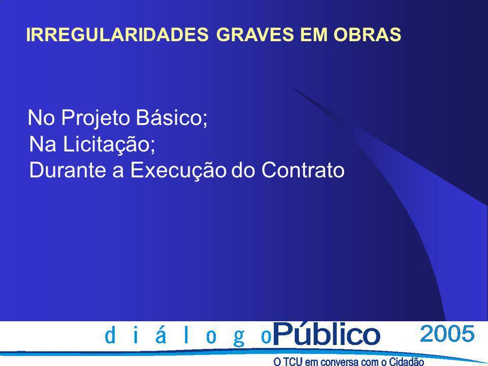 IRREGULARIDADES GRAVES EM OBRAS No Projeto Básico; Na Licitação; Durante a Execução do Contrato
