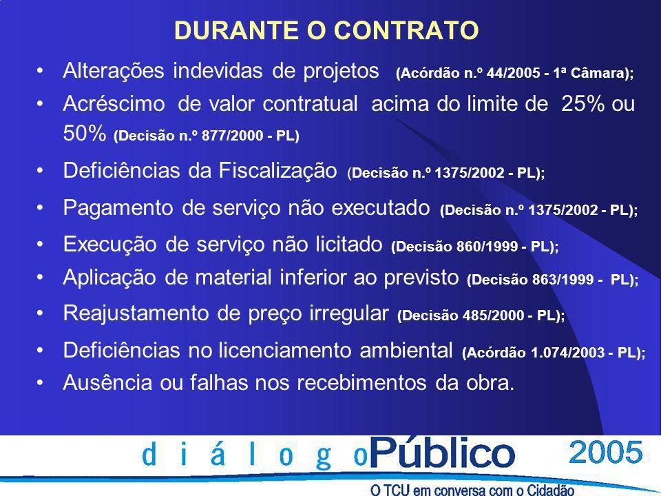 DURANTE O CONTRATO Alterações indevidas de projetos (Acórdão n.º 44/2005 - 1ª Câmara);