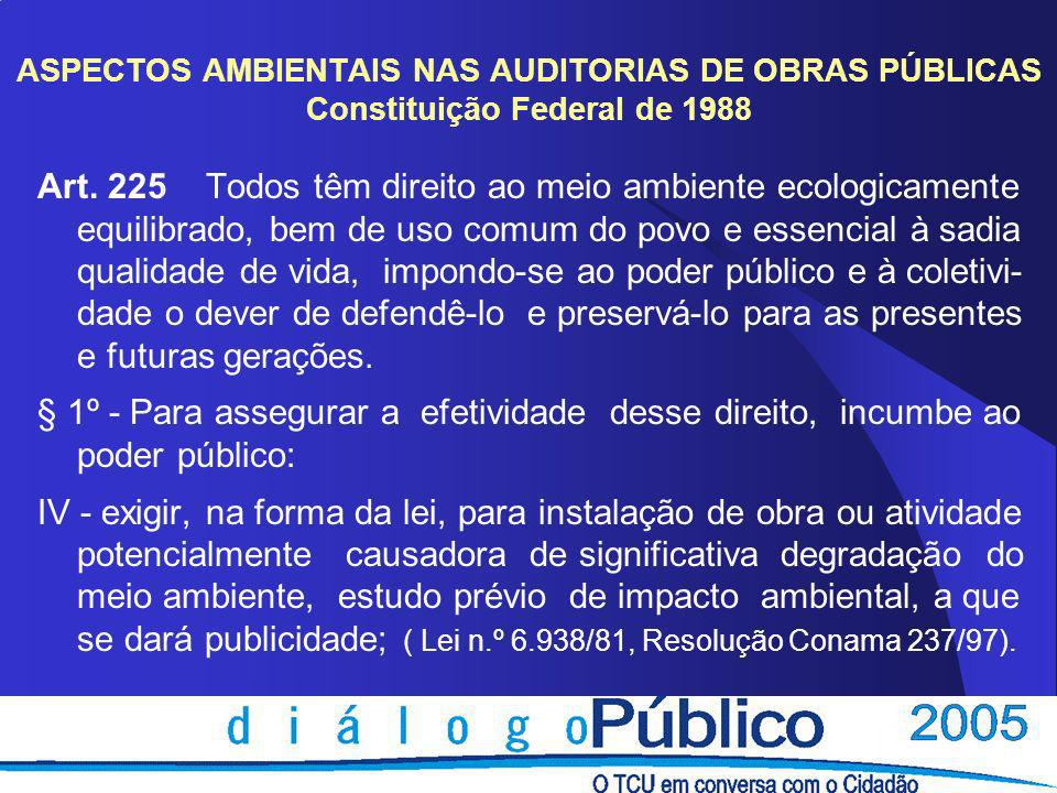 ASPECTOS AMBIENTAIS NAS AUDITORIAS DE OBRAS PÚBLICAS Constituição Federal de 1988