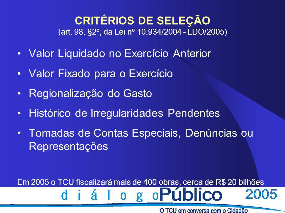 CRITÉRIOS DE SELEÇÃO (art. 98, §2º, da Lei nº 10.934/2004 - LDO/2005)
