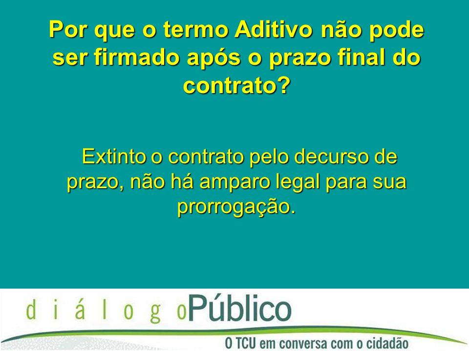 Por que o termo Aditivo não pode ser firmado após o prazo final do contrato