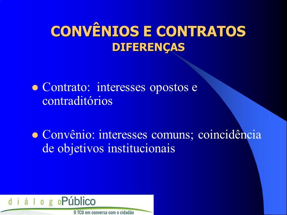 CONVÊNIOS E CONTRATOS DIFERENÇAS