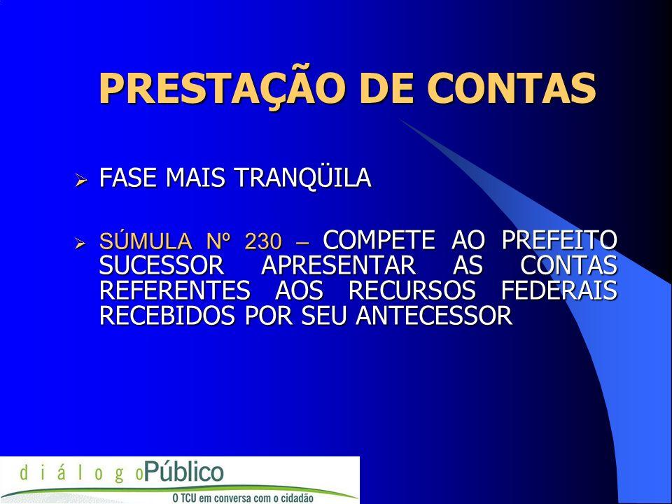 PRESTAÇÃO DE CONTAS FASE MAIS TRANQÜILA