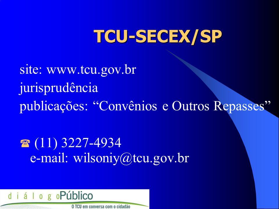 TCU-SECEX/SP site: www.tcu.gov.br jurisprudência