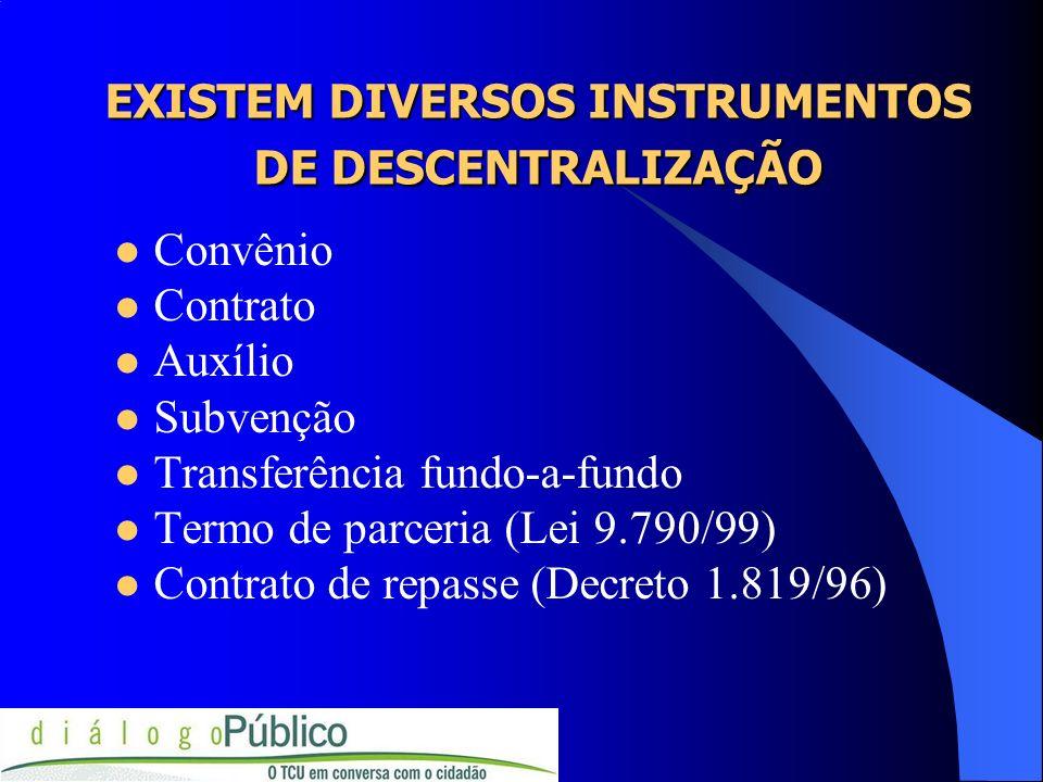 EXISTEM DIVERSOS INSTRUMENTOS DE DESCENTRALIZAÇÃO