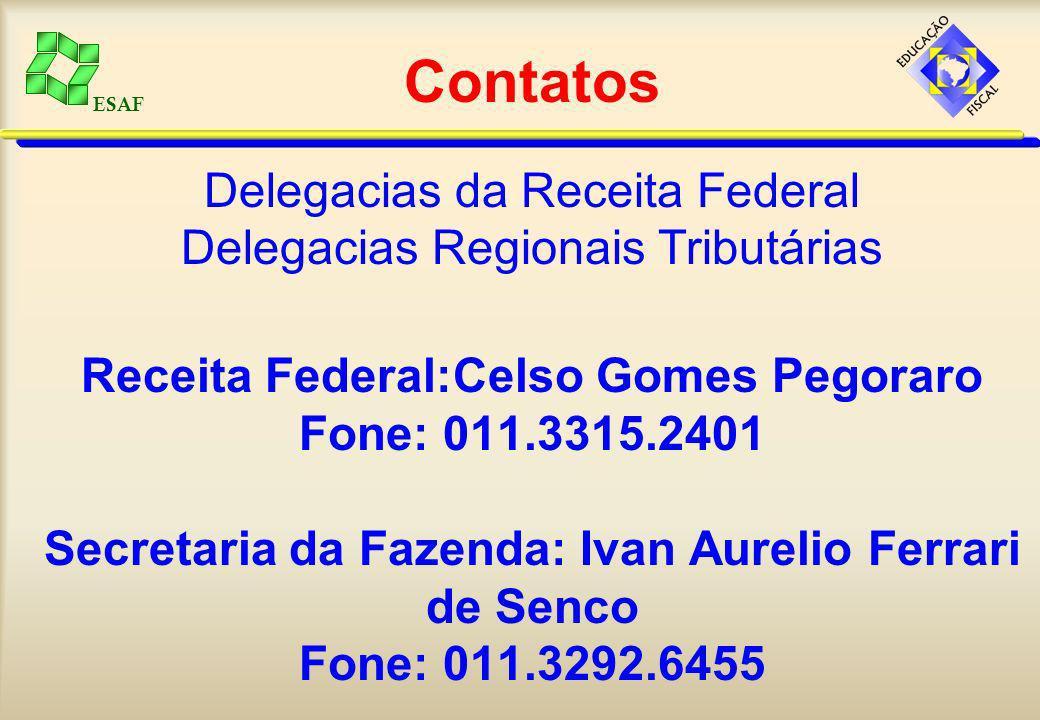 Contatos Delegacias da Receita Federal Delegacias Regionais Tributárias Receita Federal:Celso Gomes Pegoraro Fone: 011.3315.2401 Secretaria da Fazenda: Ivan Aurelio Ferrari de Senco Fone: 011.3292.6455