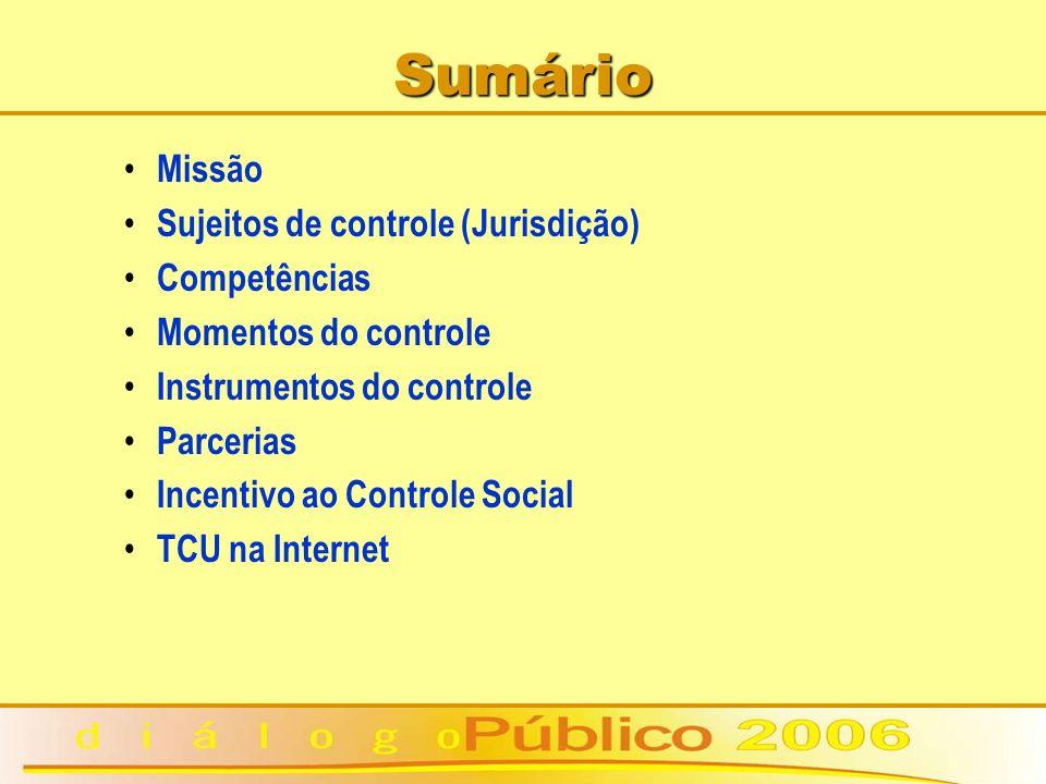 Sumário Missão Sujeitos de controle (Jurisdição) Competências