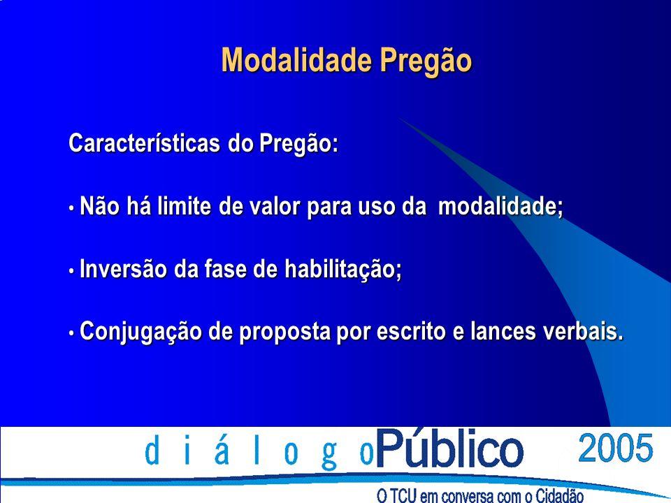 Modalidade Pregão Características do Pregão: