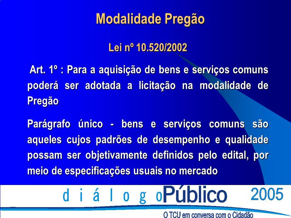 Modalidade Pregão Lei nº 10.520/2002