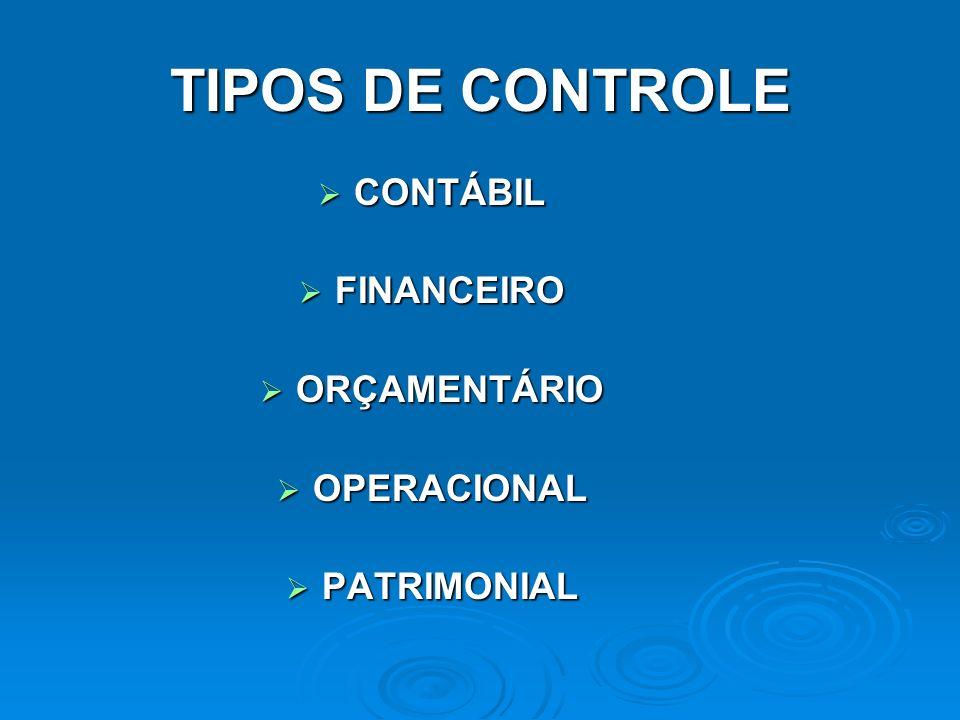 TIPOS DE CONTROLE CONTÁBIL FINANCEIRO ORÇAMENTÁRIO OPERACIONAL