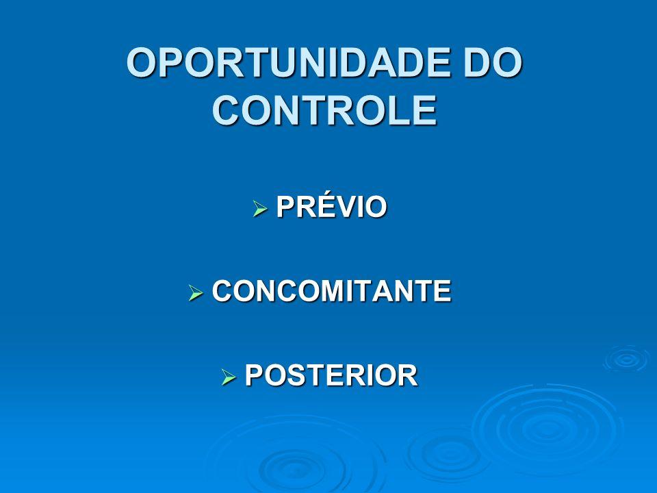 OPORTUNIDADE DO CONTROLE
