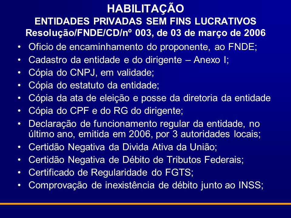 HABILITAÇÃO ENTIDADES PRIVADAS SEM FINS LUCRATIVOS Resolução/FNDE/CD/nº 003, de 03 de março de 2006