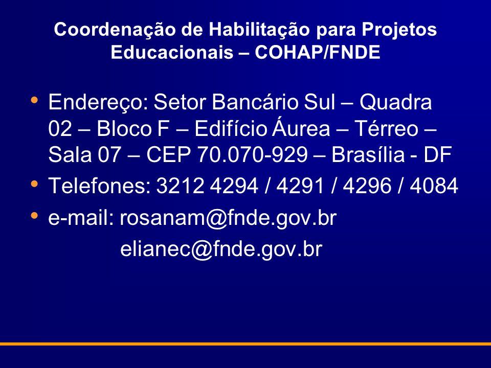 Coordenação de Habilitação para Projetos Educacionais – COHAP/FNDE