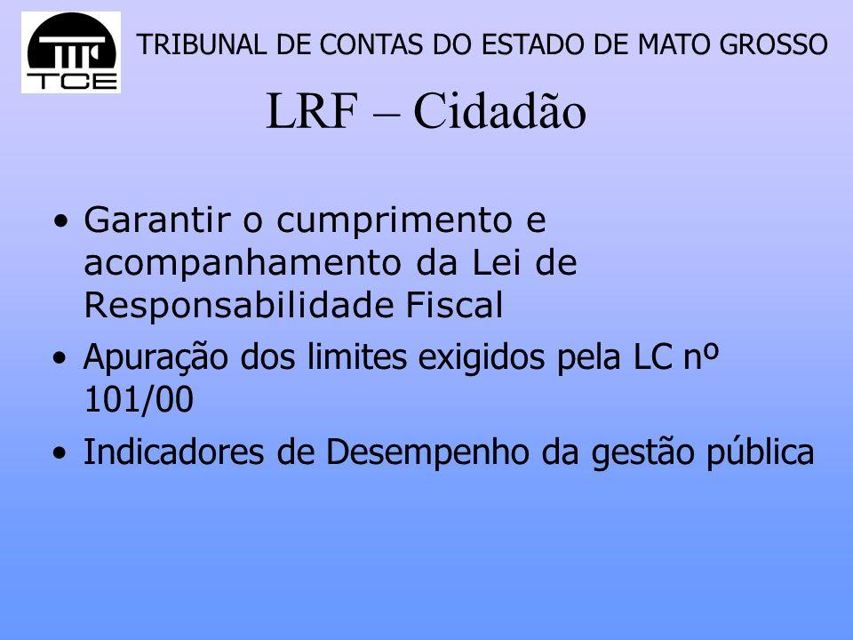 LRF – Cidadão Garantir o cumprimento e acompanhamento da Lei de Responsabilidade Fiscal. Apuração dos limites exigidos pela LC nº 101/00.