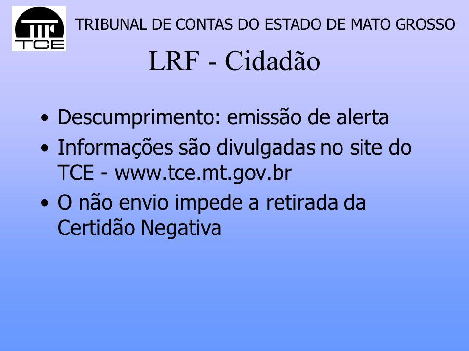 LRF - Cidadão Descumprimento: emissão de alerta