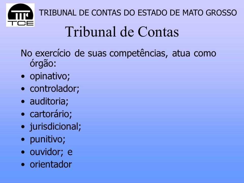 Tribunal de Contas No exercício de suas competências, atua como órgão:
