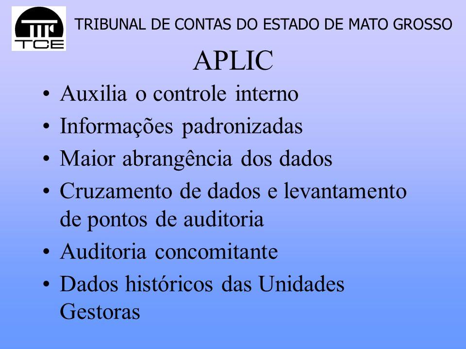 APLIC Auxilia o controle interno Informações padronizadas