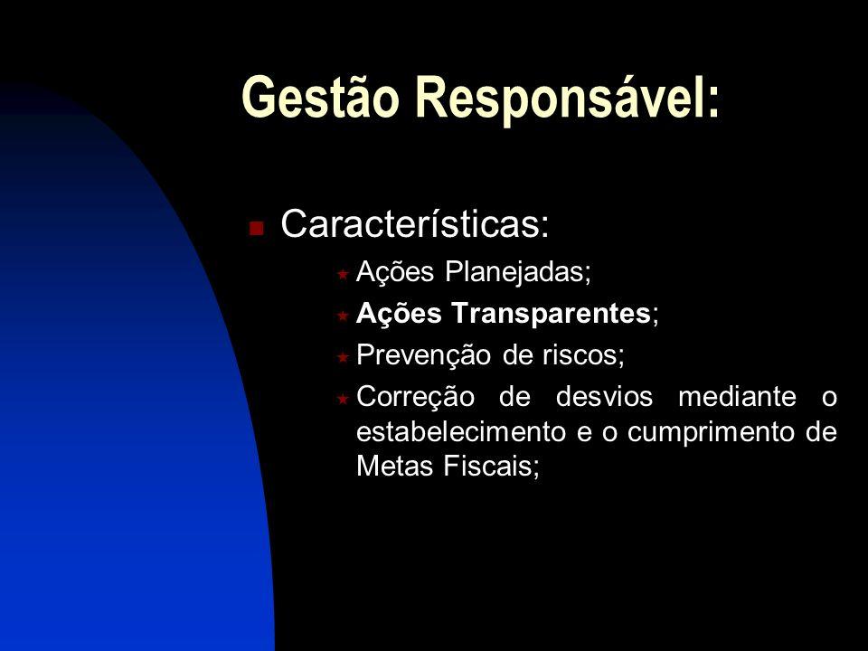 Gestão Responsável: Características: Ações Planejadas;