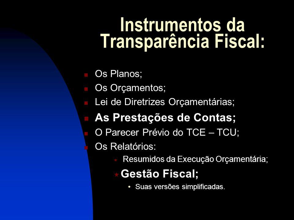 Instrumentos da Transparência Fiscal: