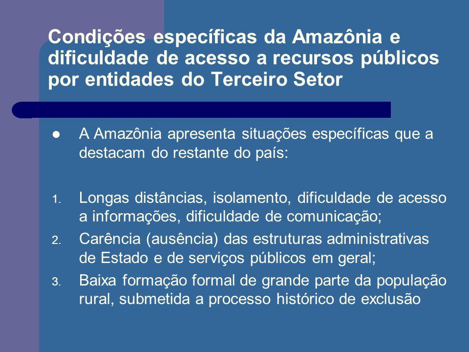 Condições específicas da Amazônia e dificuldade de acesso a recursos públicos por entidades do Terceiro Setor