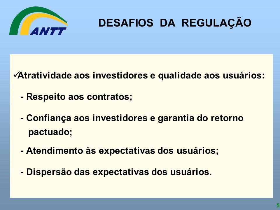 DESAFIOS DA REGULAÇÃO Atratividade aos investidores e qualidade aos usuários: - Respeito aos contratos;
