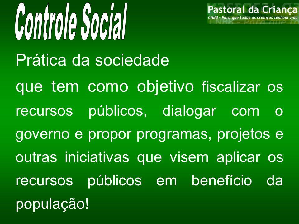Controle Social Prática da sociedade.