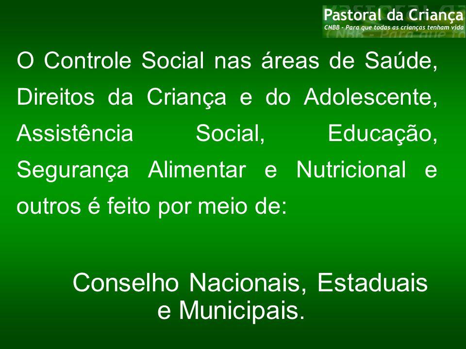 Conselho Nacionais, Estaduais e Municipais.