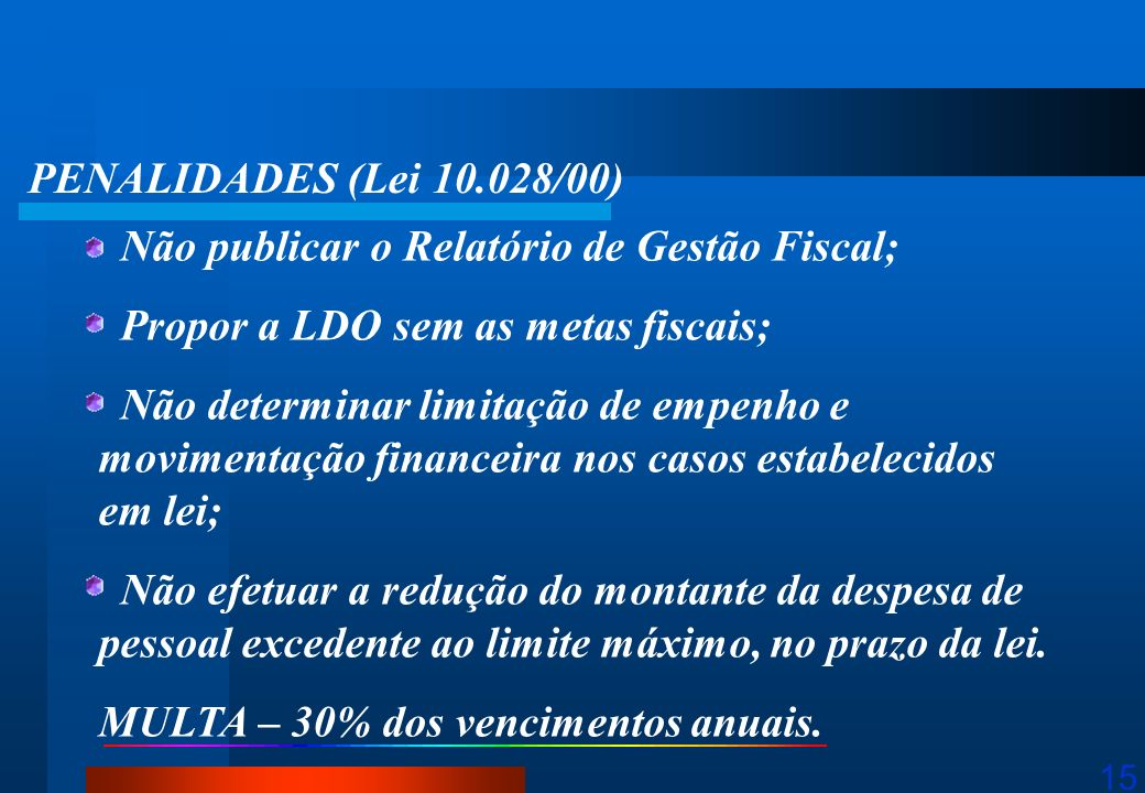 PENALIDADES (Lei 10.028/00) Não publicar o Relatório de Gestão Fiscal; Propor a LDO sem as metas fiscais;