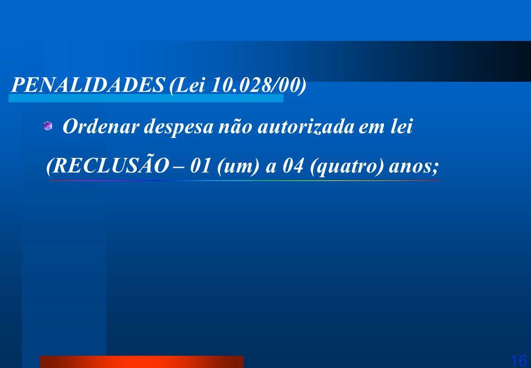 PENALIDADES (Lei 10.028/00) Ordenar despesa não autorizada em lei.