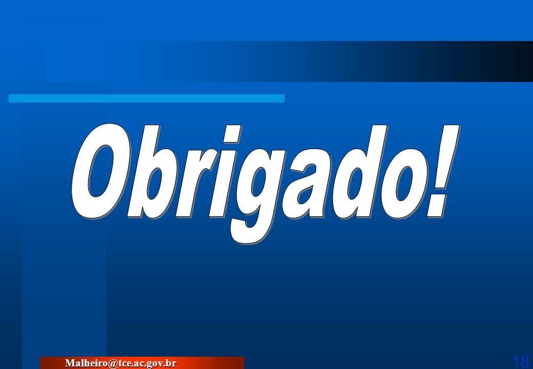 Obrigado! Malheiro@tce.ac.gov.br