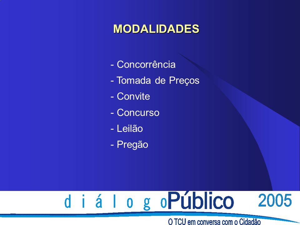 MODALIDADES Concorrência Tomada de Preços Convite Concurso Leilão