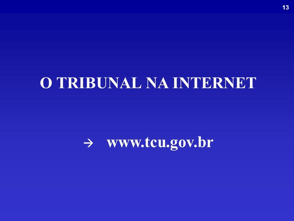 O TRIBUNAL NA INTERNET  www.tcu.gov.br