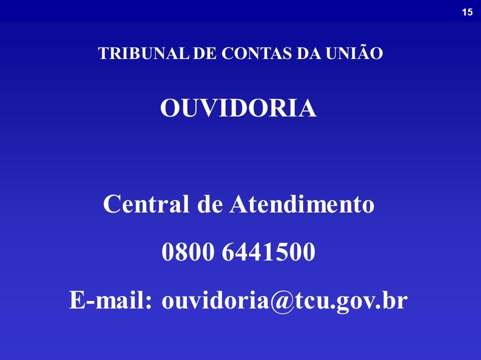 Central de Atendimento 0800 6441500 E-mail: ouvidoria@tcu.gov.br