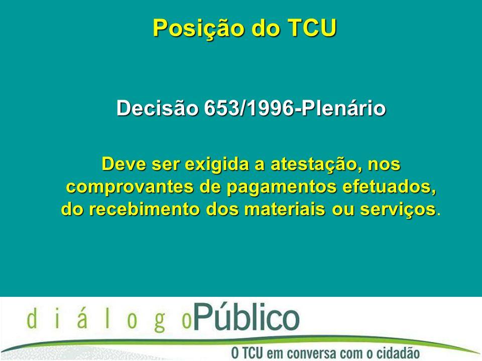 Posição do TCU Decisão 653/1996-Plenário