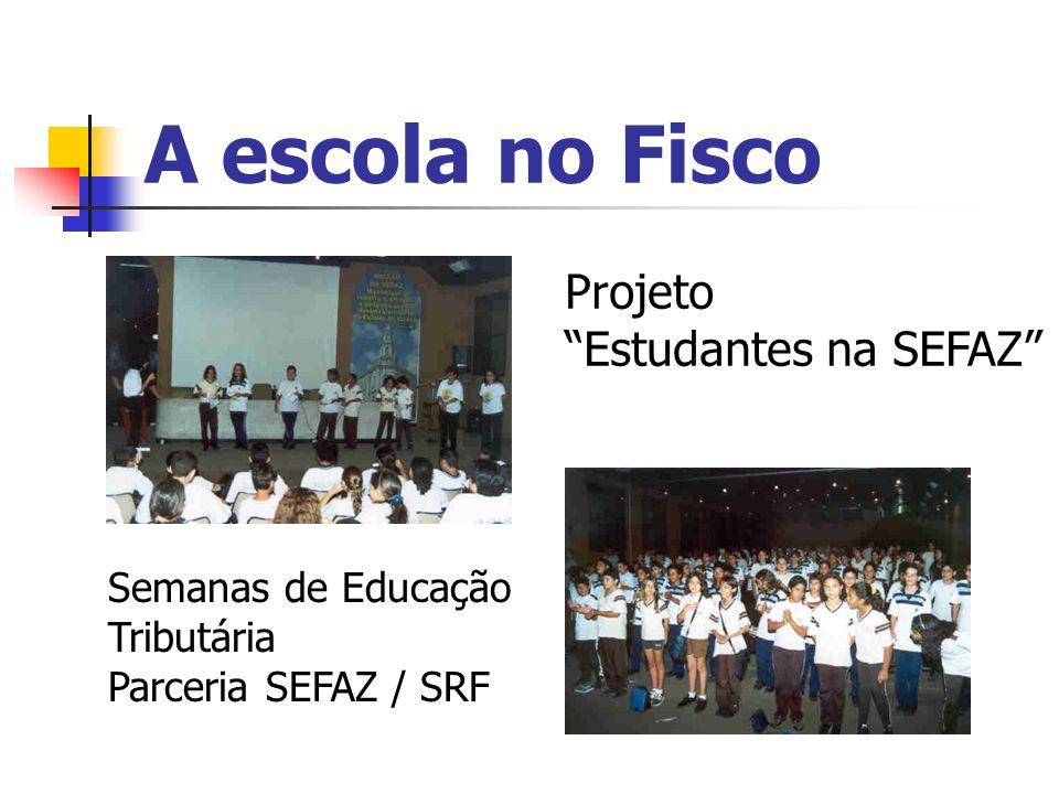A escola no Fisco Projeto Estudantes na SEFAZ Semanas de Educação