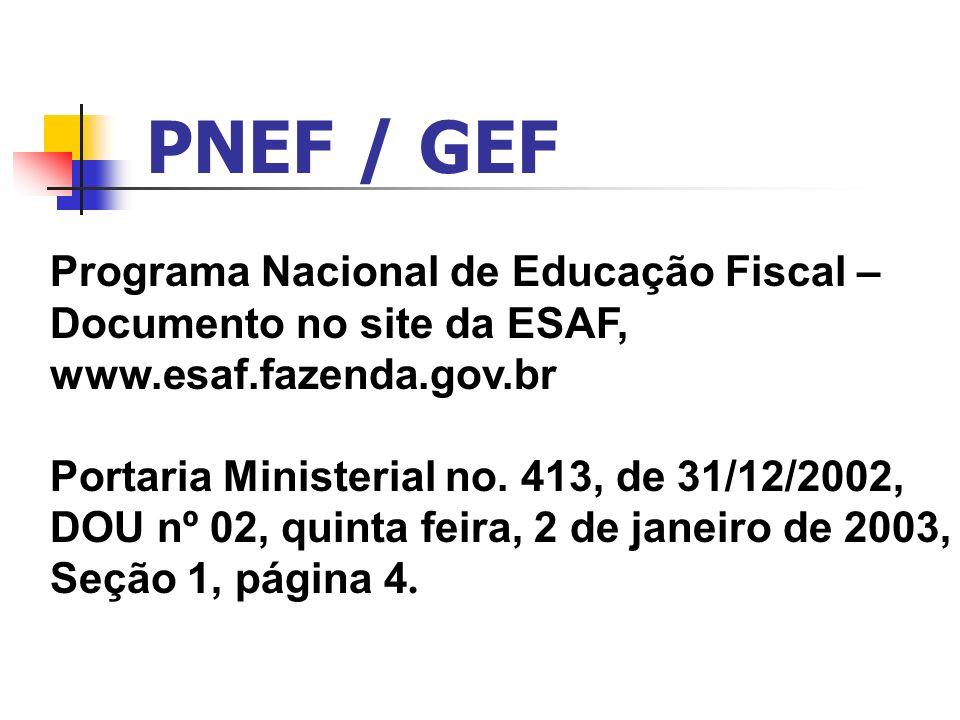 PNEF / GEF Programa Nacional de Educação Fiscal –