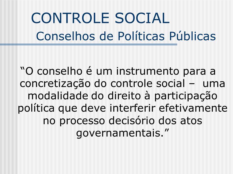 CONTROLE SOCIAL Conselhos de Políticas Públicas