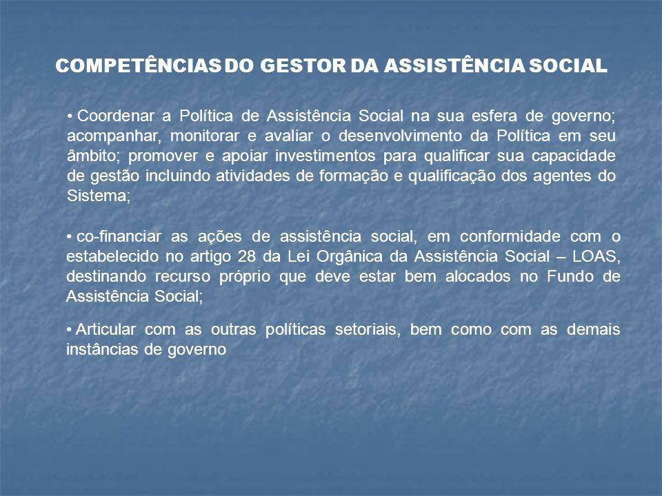 COMPETÊNCIAS DO GESTOR DA ASSISTÊNCIA SOCIAL