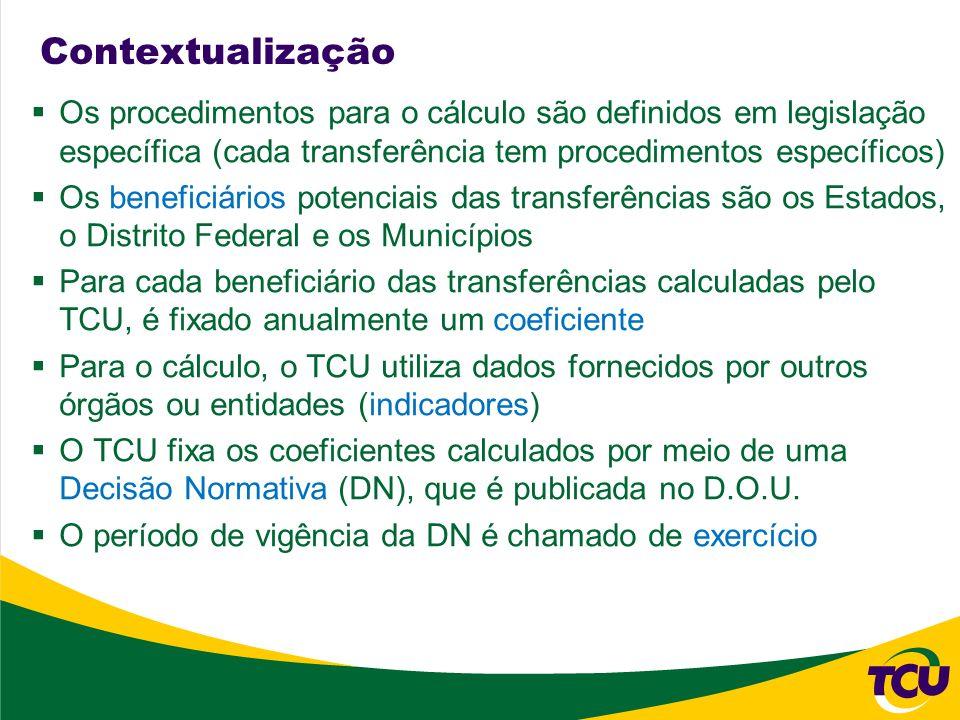 Contextualização Os procedimentos para o cálculo são definidos em legislação específica (cada transferência tem procedimentos específicos)