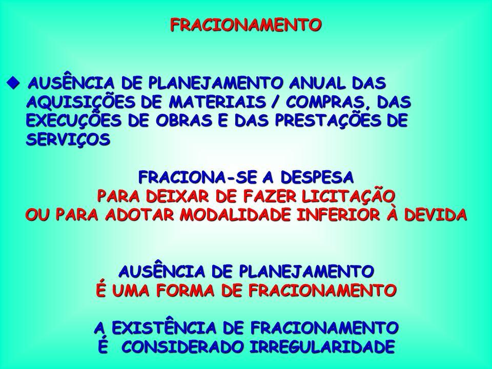 FRACIONAMENTO AUSÊNCIA DE PLANEJAMENTO ANUAL DAS