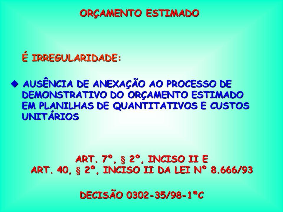 ART. 40, § 2º, INCISO II DA LEI Nº 8.666/93
