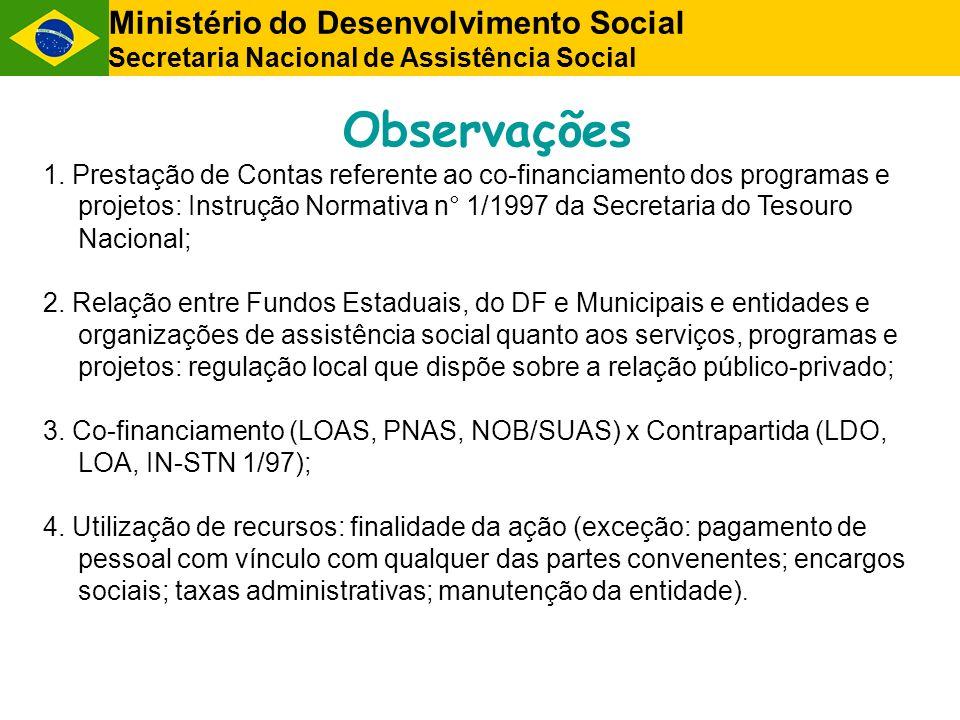 Observações Ministério do Desenvolvimento Social