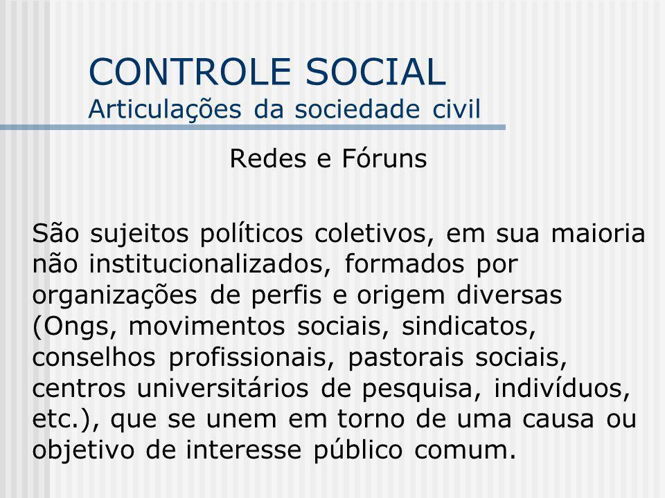 CONTROLE SOCIAL Articulações da sociedade civil