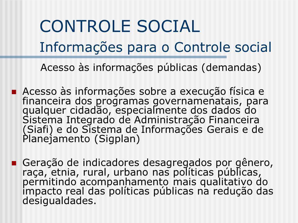 CONTROLE SOCIAL Informações para o Controle social