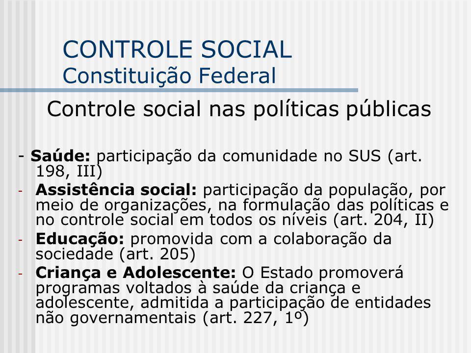 CONTROLE SOCIAL Constituição Federal