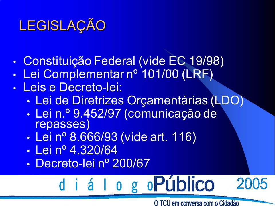 LEGISLAÇÃO Constituição Federal (vide EC 19/98)