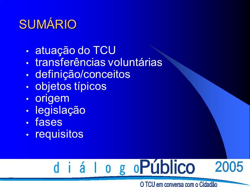 SUMÁRIO atuação do TCU transferências voluntárias definição/conceitos