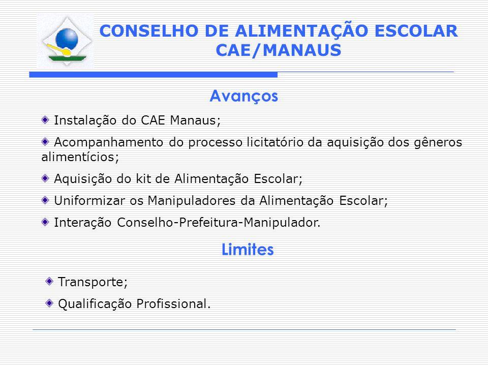 Avanços Limites Instalação do CAE Manaus;